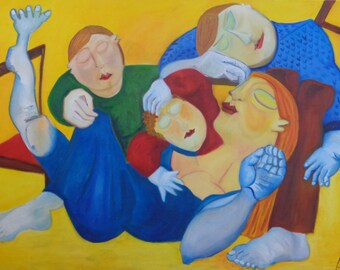 Oil painting Sleeping family II, acrylic on canvas 39,4 x 59,1 inch