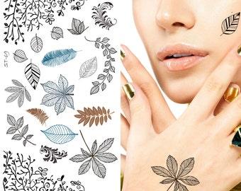 Supperb® Temporary Tattoos - Leaves Tattoo, Leaf Tattoos, Plants Tattoos, Vine Tattoos