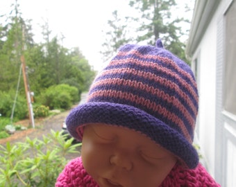 Baby Girl Hat Knitted by SuzannesStitches, Baby Girl Hat, Baby Girl Purple and Pink Hat, Baby Girl Purple Beanie, Hand Knit Baby Girl Hat