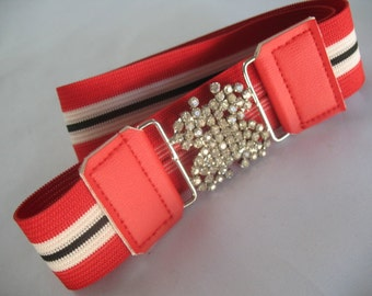 ELASTIC GIRLS BELTS with Rhinestone Butterfly Buckle