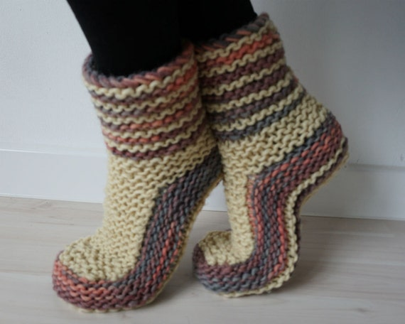 Knit Slipper Socks, Handknit Slippers, All Natural Wool Slippers, Knitted Slippers, Woollen Boot Slippers, Indoor Shoes, Knitted Socks, Gift