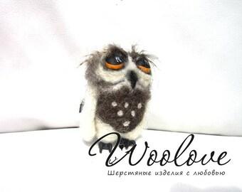Felted Owl Keychain/Needle felted owl/wool keychain/unusual keychain/bird/keychain bird/wool bird/toy owl/wool sculpture/felted toy/cute owl