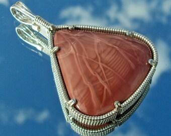 Imperial Jasper Pendant in Silver -- PinkLightning