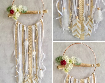 Dream catcher wood Driftwood Golden beige flower