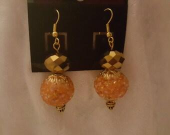 Crystal Bronze dangle earrings