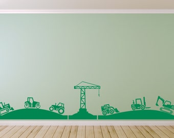 Tractor, Diggers & Crane Landscape for Boy's bedroom. Vinyl wall art decal sticker. Any colour and size.(#29)