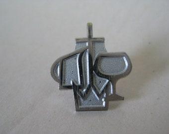 Christian Tie Tack Silver White Vintage Pin Lapel