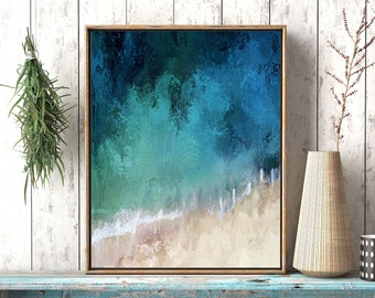Abstract coastal art, ocean wave wall art, wave art print, blue Aqua Abstract, art print, abstract coastal artwork, Ocean printable art,