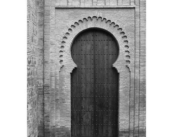 Fine Art Black & White Architecture Photography of a Moorish Doorway in Toledo Spain