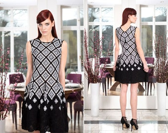 crochet dress with motifs squares,summer clothing,gift ideas,colorful dress,beach clothing,cozy dress,