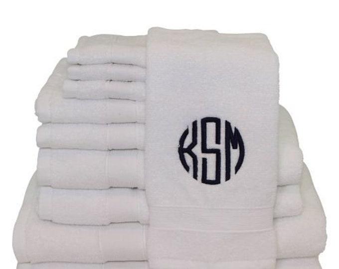 8 piece Bath Towel Set, Monogrammed Bath Towel Set, Personalized Bath Towels, Housewarming Gifts, Monogrammed Gifts, Wedding Gifts