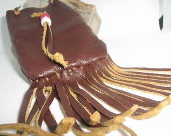 medicine bag fringe brown