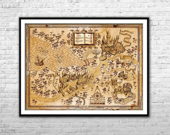 Harry potter map etsy harry potter map the wizarding world of harry potter map archival paper canvas print harry potter wall art home decor multi panel gumiabroncs Images