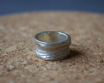 Organic Lost Wax Cast Sterling Silver Ring, handmade, hand carved, Ring, sterling silver
