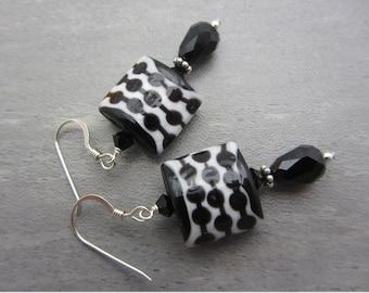 Lampwork Earrings Glass Artisan Earrings Black and White Earrings Glass Bead Earrings Dangle Drop Earrings With Swarovski Crystals SRAJD