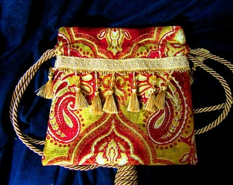 11 x 11 Luxurious Red Gold Tapestry Drawstring Bag Gold Beaded Tassels Lined