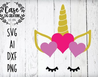 Unicorn Face Valentine's Day SVG Cutting FIle, AI, Dxf and Printable PNG Files | Instant Download | Cricut and Silhouette | Heart | Love