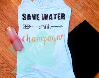 Save Water Drink Champagne tank top, Brunch Tank, Bachelorette Party, Bridesmaids Flowy Tank Bella Canvas Glitter