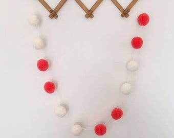 Pom pom garland with 12 medium wool pom poms - made to order bunting