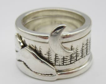 Sterling Silver Mountain, Forrest, Moon set