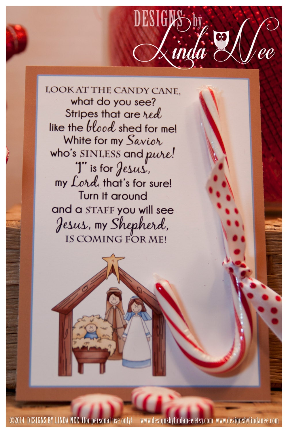Accomplished image with candy cane poem printable