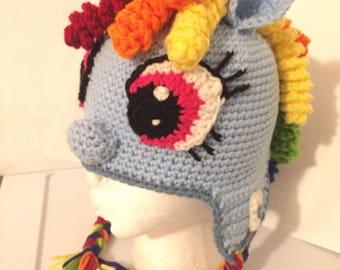 Rainbow Crochet Pony Hat