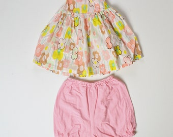 6-12 month Watercolor Floral Print Dress with Flowy Bloomers
