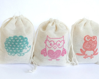 Valentine Animal Bags Holiday Set muslin cotton favor bag 15 2.75x4 with stamp goodies treat bag hedgehog frog owl