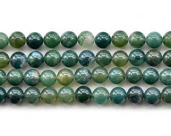 """Natural Green Grass Agate Gemstone Round Loose Beads 15"""" 6mm 8mm 10mm 12mm"""