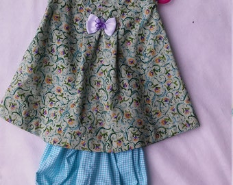 Girl's cotton flower print with blue gingham bloomers