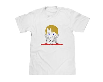 Home Alone T-Shirt, Color on White Crew ,Kevin McCallister,Macauley Culkin,90s Christmas Movie,Mens Christmas Gift,Boyfriend Christmas Gift