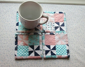 blue and peach country squares fabric hand quilted set of mug rugs coasters