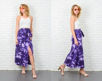 Vintage 80s Purple Retro Skirt Boho Maxi Floral Leaf print Wrap XS 5229