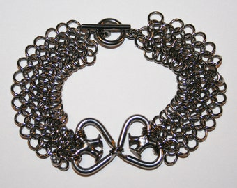 "Handmade Stainless Steel Chain Maille Chainmaille Bracelet European 4 in 1 Weave with Nailmaille Double Hearts ""Enmeshed Hearts"""