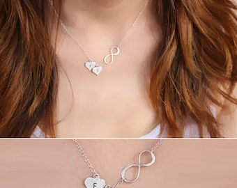 Heart necklace, Mother's day gift Necklace, Infinity Heart Necklace, Personalized Initial Heart Necklace, Sterling Silver Necklace