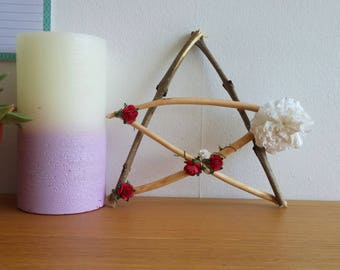 Pagan Pentagram! Flowery Decor for your Wiccan Altar