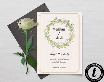 Save The Date Template, Floral DIY Save The Date Card, Printable Card, Instant Download Save the Date Invite Template, Engagement Template