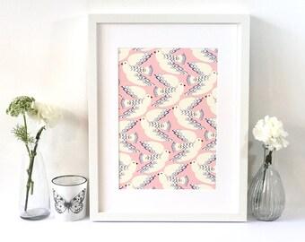 Doves art print in powder pink, blues & cream / Bird illustration / Gift for her / Bird lovers gift