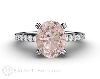 Morganite Engagement Ring Platinum Pink Morganite Ring Oval Solitaire Conflict Free Diamonds Wedding Ring