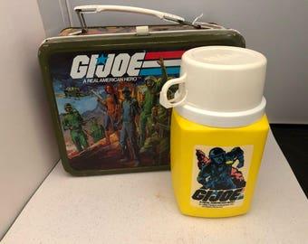 Vintage 1982 GI Joe Metal Lunch Box With Thermos