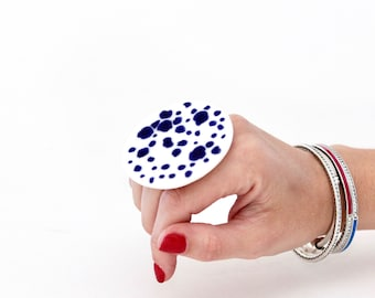 Ceramic Jewelry, Statement Jewelry, Big Ceramic Ring  - Fashion ring, large ring, oversize ring, handmade ring, polka dot statement ring