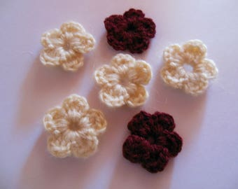 Wool crochet ecru/Burgundy color flowers