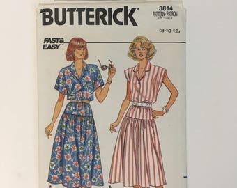 1980s Vintage Butterick 3814 Sewing Pattern Women's Summer Top & Dropped Waist Skirt