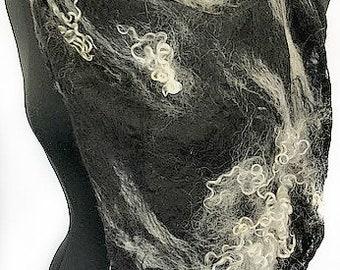 Black & White Felted Scarf, Cobweb Felt Wrap, Fashion Scarf, Shawl with curly locks, Wedding Accessories, GiftsForHer GracefulEweFiberArts