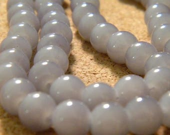 "30 bright glass beads - 8 mm - way ""jade"" - gray-PE241-4"