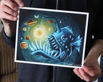 Deep Sea Angler Fish with Galaxy; Fine Art Print