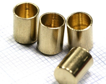 ends cap, 6x7.8mm 5 mm inner raw brass cord  tip ends, raw brass ribbon end, 1649 ENC5