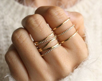 Ring Set of 2 Stacked Gold Rings Stacking Ring Set Stackable Rings Set Gold Ring Set Adjustable Unique Rings Gift For Her Jewelry