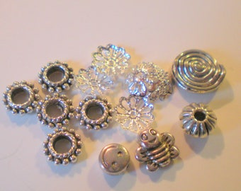 MIX of 15 small spacer beads in silvery metal approximately 5 mm