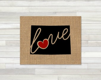 Colorado (CO) Love - Burlap or Canvas Paper State Silhouette Wall Art Print / Home Decor (Free Shipping)